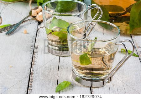 Basil Herbal Tea On Wooden Table