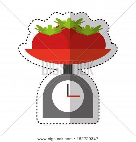 balance with tomatoes isolated vector illustration design