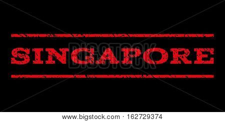 Singapore watermark stamp. Text tag between horizontal parallel lines with grunge design style. Rubber seal stamp with scratched texture. Vector red color ink imprint on a black background.