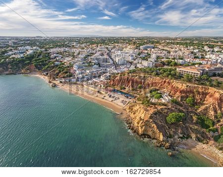 Aerial. Amazing view from the sky, town Olhos de Agua albufeira. Algarve Portugal.