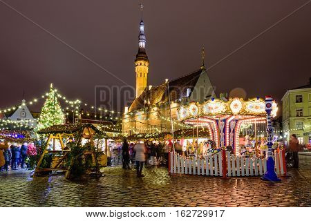 Tallinn, Estonia - December 17, 2016: Christmas market on town hall square in Tallinn's old town