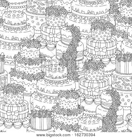 Hand drawn seamless pattern with triple birthday cakes. Vector illustration.