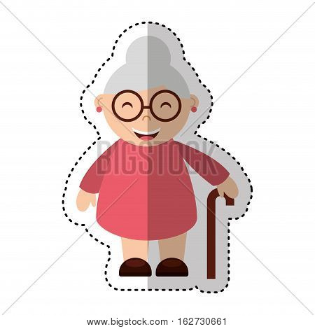 grandmother avatar character icon vector illustration design