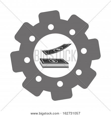 cash money and gear icon image vector illustration design