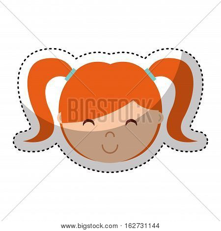 cute little girl isolated icon vector illustration design