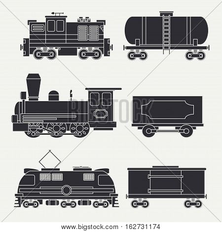 Trendy flat modern and vintage trains with cargo wagons and tank icons set. Steam, diesel, electric locomotives. Vector illustration. Design elements railway collection. Railroad. Wagon. Retro.
