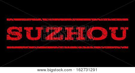 Suzhou watermark stamp. Text tag between horizontal parallel lines with grunge design style. Rubber seal stamp with scratched texture. Vector red color ink imprint on a black background.