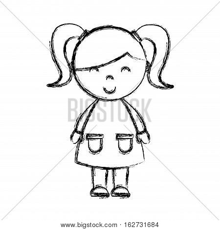 cute little girl isolated icon vector illustration design