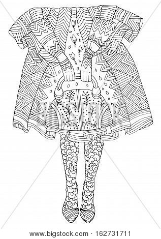 Vector hand drawn line fashionable girl in patterned tights holding bag in lush skirt. Fashion illustration. Pattern for coloring page A4 size. Zentangle drawing.