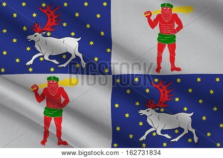 Flag of Norrbotten County in Lappland province of Sweden. 3d illustration