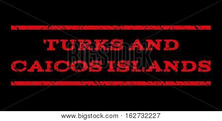 Turks and Caicos Islands watermark stamp. Text caption between horizontal parallel lines with grunge design style. Rubber seal stamp with unclean texture.