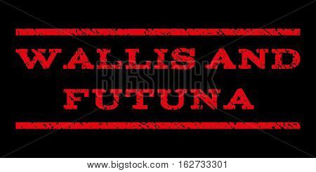 Wallis and Futuna watermark stamp. Text tag between horizontal parallel lines with grunge design style. Rubber seal stamp with scratched texture. Vector red color ink imprint on a black background.