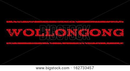Wollongong watermark stamp. Text tag between horizontal parallel lines with grunge design style. Rubber seal stamp with dirty texture. Vector red color ink imprint on a black background.