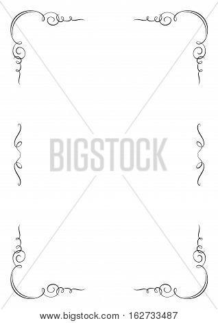 Rectangular vignette frame. A4 page proportions. Page decoration.