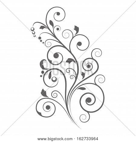 Black floral vignette, decorative element, stencil. Page decoration.