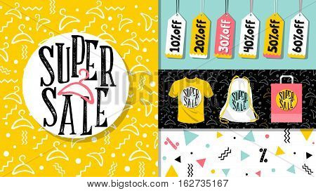 Super sale. Flat design sale website banner template set. 80's, 90's style bright colorful vector for social media, posters, email, print, ads, promotional material. Yellow Pink Blue black and white
