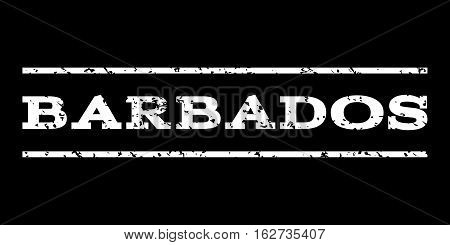 Barbados watermark stamp. Text caption between horizontal parallel lines with grunge design style. Rubber seal stamp with dust texture. Vector white color ink imprint on a black background.