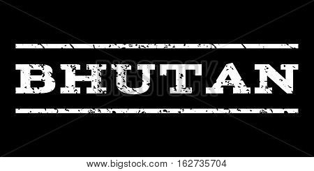 Bhutan watermark stamp. Text tag between horizontal parallel lines with grunge design style. Rubber seal stamp with dirty texture. Vector white color ink imprint on a black background.