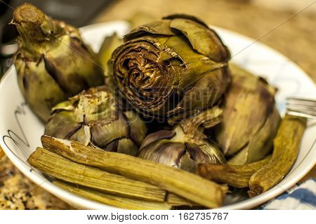 cleaned and fresh artichoke ready to be prepared