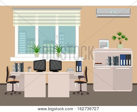 Office room interior including two work spaces with cityscape outside window. Flat style vector illustration.