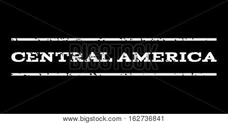 Central America watermark stamp. Text caption between horizontal parallel lines with grunge design style. Rubber seal stamp with dirty texture. Vector white color ink imprint on a black background.