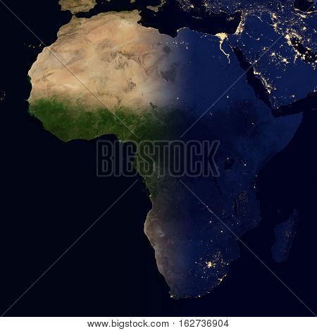 City lights on world map. Africa. Elements of this image are furnished by NASA