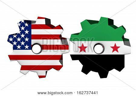 The United States of America and Syria working together Two cogwheels with a flag of the United States and Syria isolated on white 3D Illustration