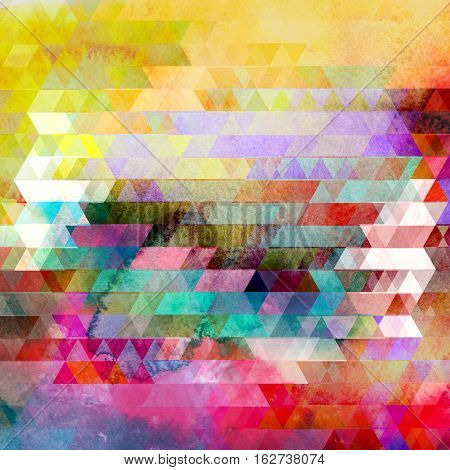 Watercolor abstract geometric colorful background of triangles for design