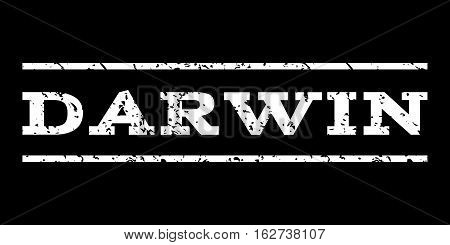 Darwin watermark stamp. Text tag between horizontal parallel lines with grunge design style. Rubber seal stamp with scratched texture. Vector white color ink imprint on a black background.