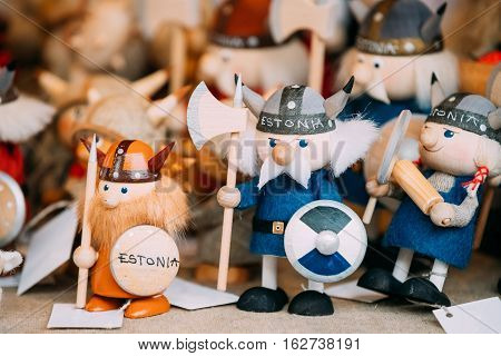 Traditional Souvenirs Ethnic Folk National Wooden Viking Dolls Toys At European Estonian Market. Popular Souvenir From Tallinn, Estonia