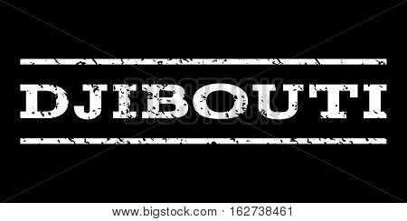 Djibouti watermark stamp. Text tag between horizontal parallel lines with grunge design style. Rubber seal stamp with dust texture. Vector white color ink imprint on a black background.