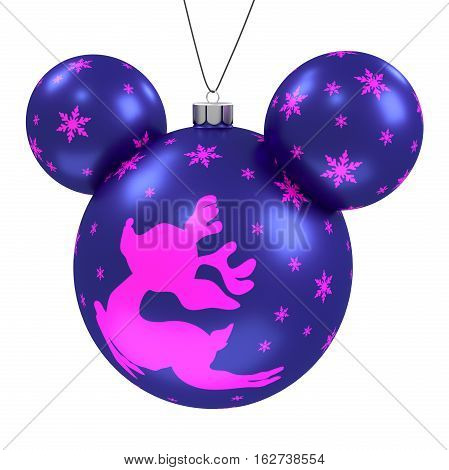 Hanging Purple Holiday Ornament With Picture Isolated On Green Screen Backdrop Background. Xmas Balls Decoration. New Year. Christmas Baubles. Clipping Path. Isolated on White. 3D Illustration