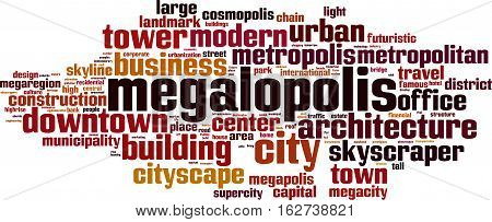 Megalopolis word cloud concept. Vector illustration on white