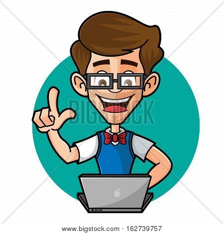 Nerd Guy Playing Laptop Isolated in White Background