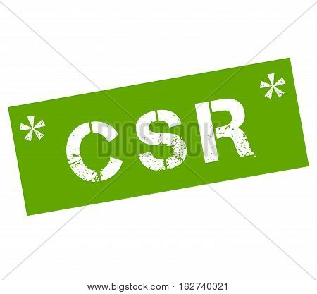 Rubber stamp with text CSR corporate social responsibility