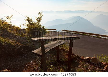 Vacation Spot With Benches And Observation Point
