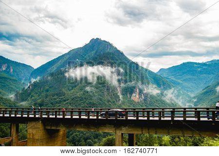 Beautiful View on Tara Canyon Bridge in Montenegro