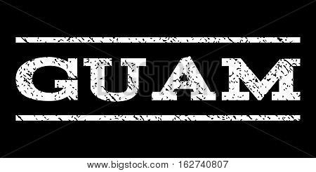 Guam watermark stamp. Text tag between horizontal parallel lines with grunge design style. Rubber seal stamp with dirty texture. Vector white color ink imprint on a black background.