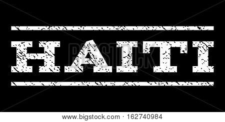 Haiti watermark stamp. Text caption between horizontal parallel lines with grunge design style. Rubber seal stamp with dust texture. Vector white color ink imprint on a black background.
