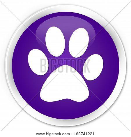 Animal Footprint Icon Premium Purple Round Button