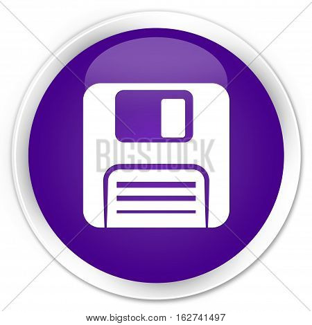 Floppy Disk Icon Premium Purple Round Button