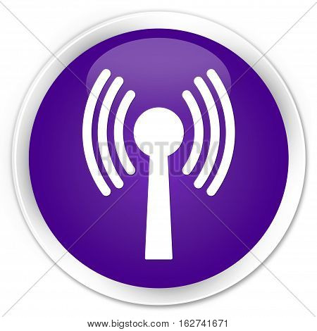 Wlan Network Icon Premium Purple Round Button