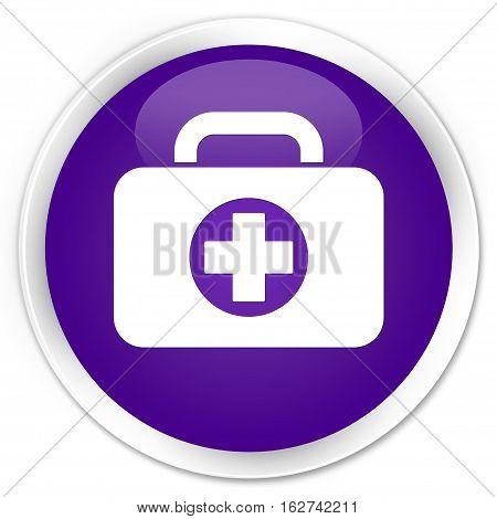 First Aid Kit Bag Icon Premium Purple Round Button