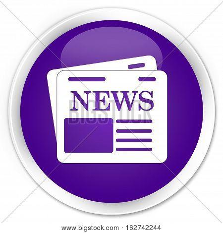 Newspaper Icon Premium Purple Round Button