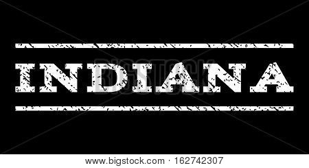 Indiana watermark stamp. Text tag between horizontal parallel lines with grunge design style. Rubber seal stamp with scratched texture. Vector white color ink imprint on a black background.