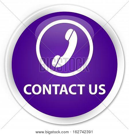 Contact Us (phone Icon Round Border) Premium Purple Round Button