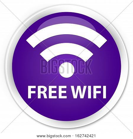 Free Wifi Premium Purple Round Button