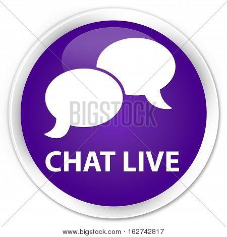 Chat Live Premium Purple Round Button