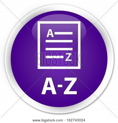 A-z (list Page Icon) Premium Purple Round Button