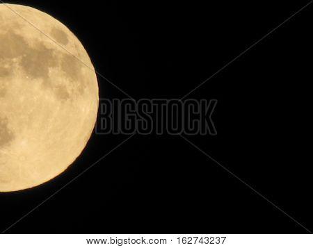 Yellow Full Moon On The Dark Night, Close Up, Crop